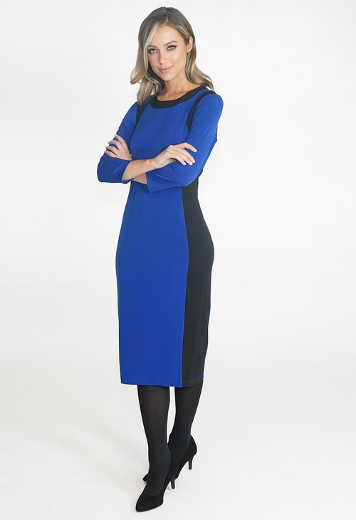 Pamela Scott Blue and Black TWO TONE ROUND NECK DRESS