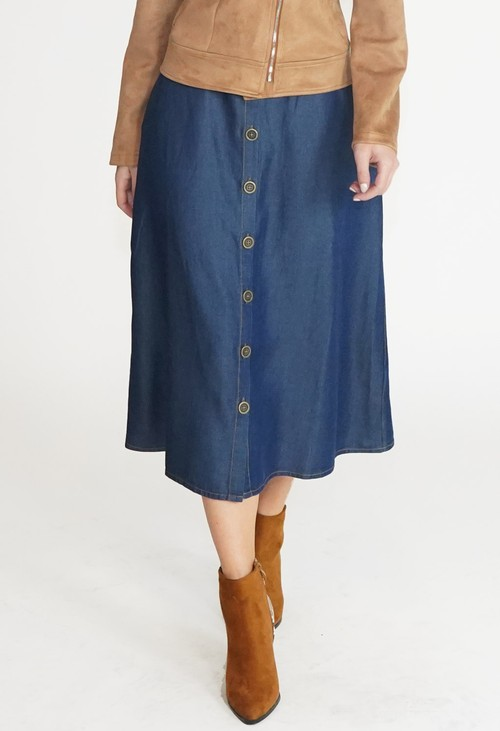 Twist Blue Button Detail Midi Skirt
