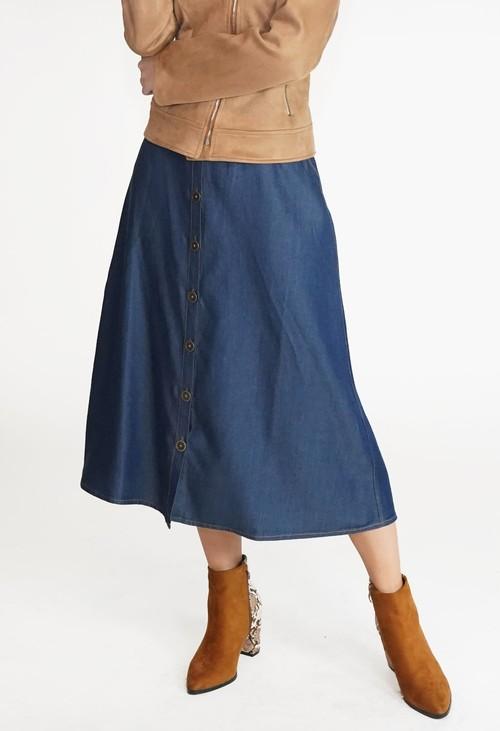 Twist Blue Button Detail Midi Skirt