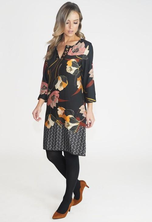 Zapara Black Floral 70s Style Dress