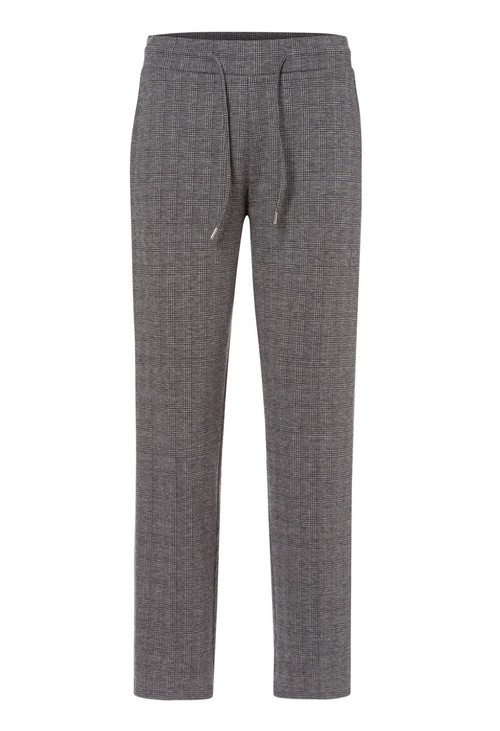 Olsen Black & Grey Check Drawing String Trousers