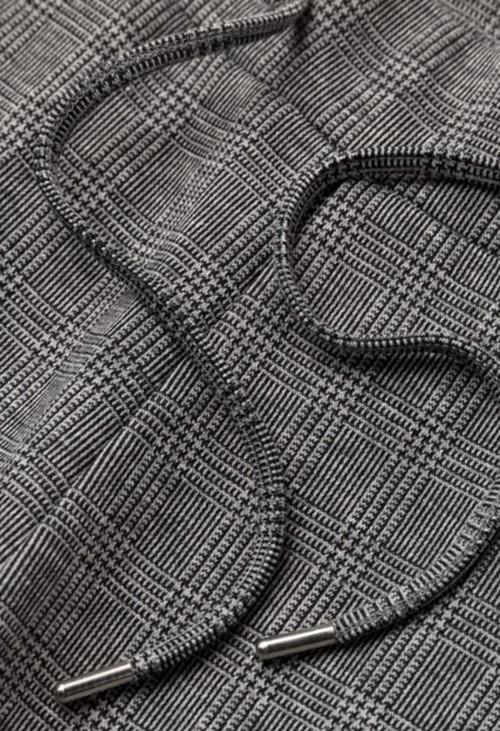 Olsen Black & Grey Check Drawing String Trousers