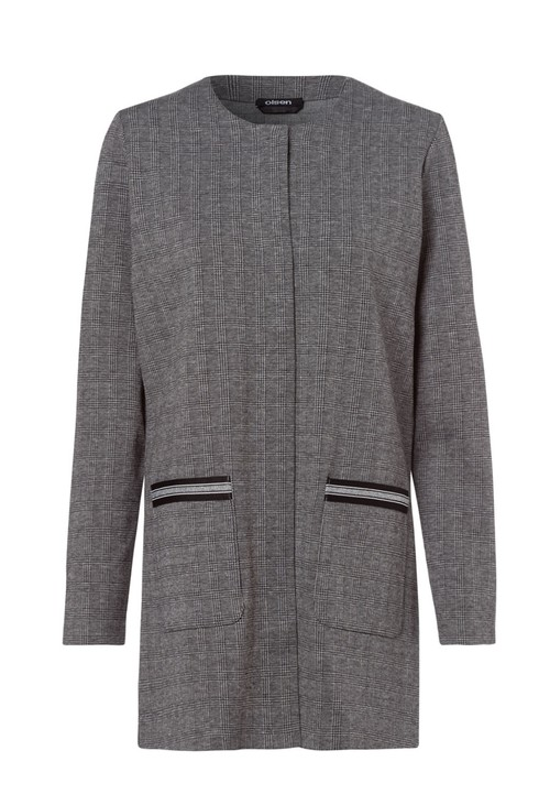 Olsen Black & Grey Check Long Jacket