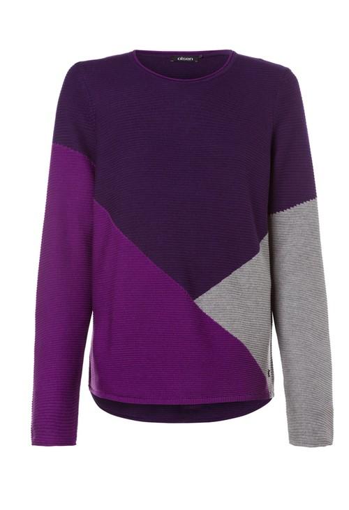 Olsen Block Colour Round Neck Knit