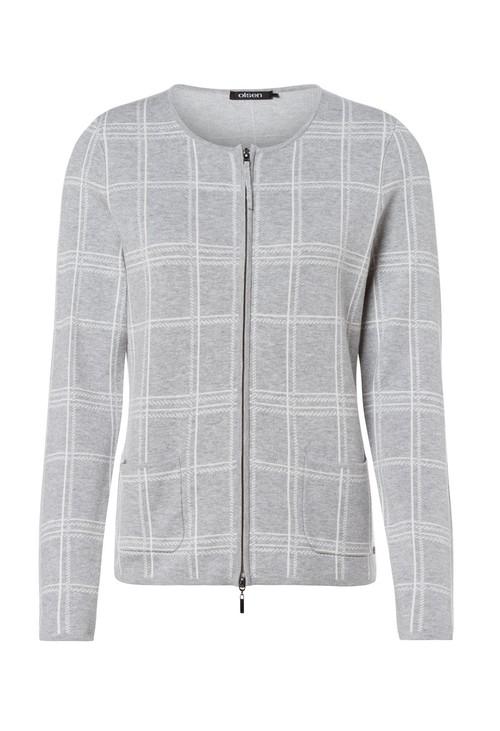 Olsen Grey & White Check Zip Up Knit