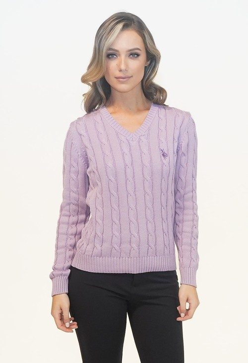 Twist Lavendar V Neck Cable Knit Jumper