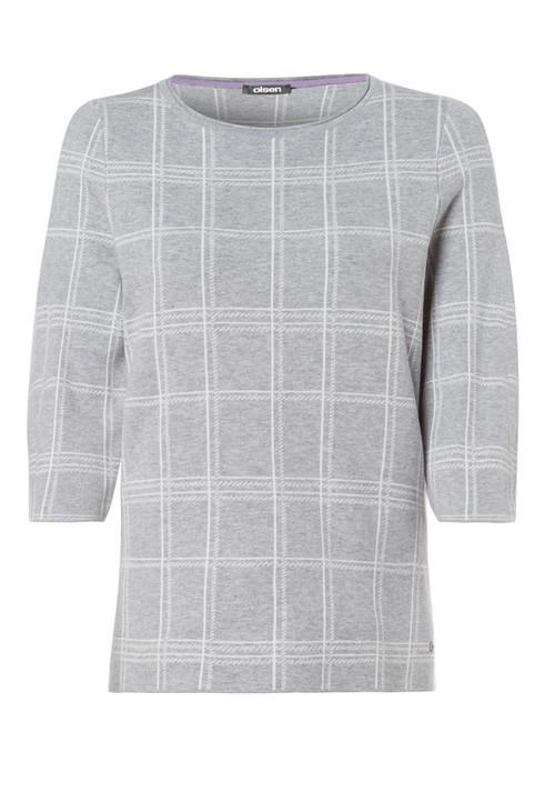 Olsen Grey & White Check Round Neck Knit