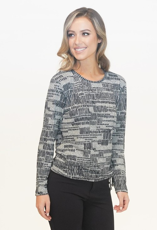 Sophie B Grey/Navy Abstract Line Pattern Top