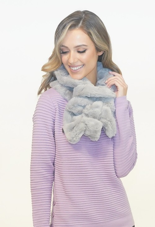 Pamela Scott Grey Faux Fur Scarf