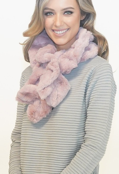 Pamela Scott Pink Faux Fur Scarf