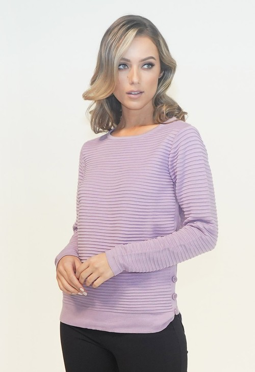 Twist Ribbed Pullover with Button Detail