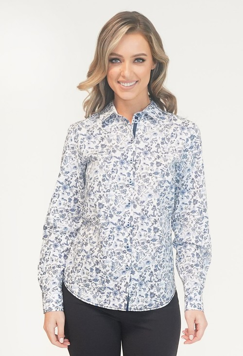 EFRO Blue/White Flower Print Shirt