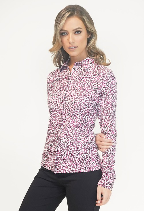 EFRO Pink and White Leopard Print Shirt