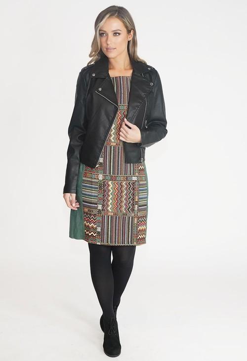 Stella Green Patchwork Sleeveless Dress