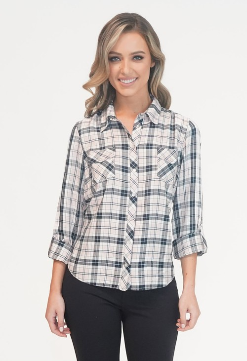 Twist Navy and Pink Checked Shirt