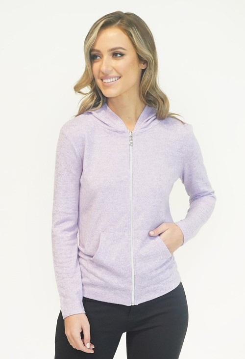 Twist Lavendar SOFT TOUCH ZIP UP HOODIE
