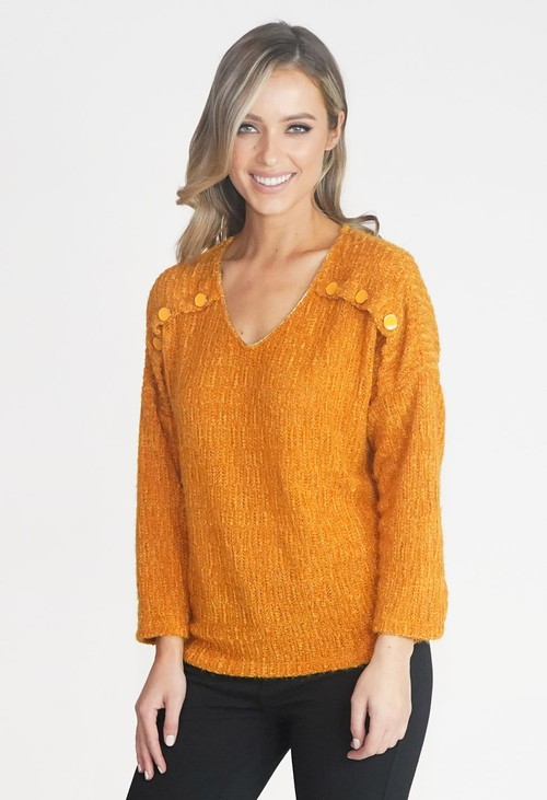 Sophie B Ochre Button Detail V Neck Top