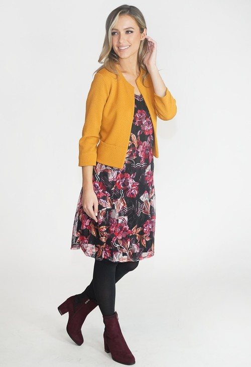 Zapara Black and Pink Lace Detail Dress