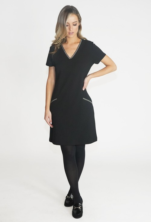 Zapara Black V Neck Dress