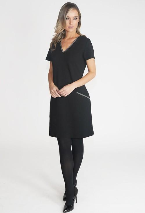 Zapara Black V Neck Dress
