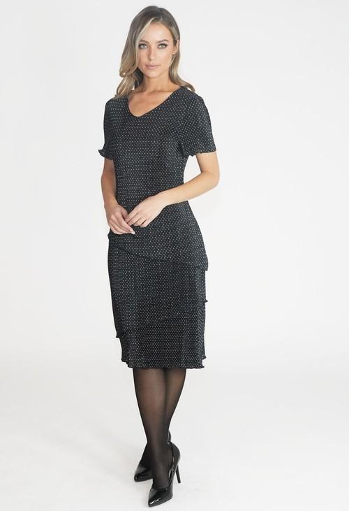 Zapara Black Spot Midi Dress