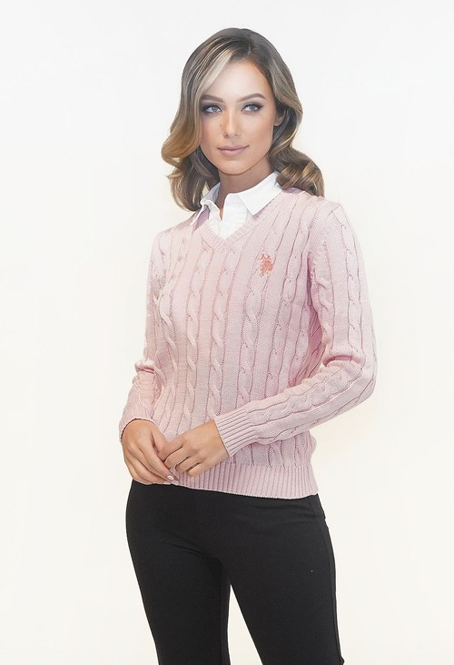 Twist Soft Rose V NECK CABLE KNIT JUMPER