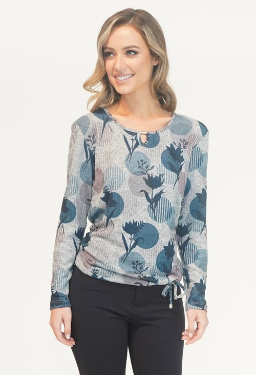 Sophie B Grey and Blue Pattern Top