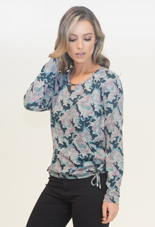 Twist Grey Camo Print Top