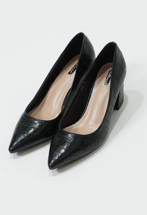 Pamela Scott Black Croc Print Block Heel Court Shoes