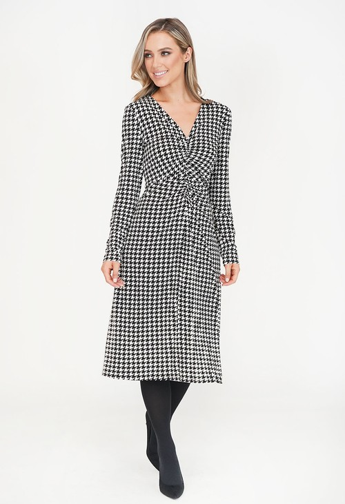 Pamela Scott Hounds Tooth Pattern Wrap Dress