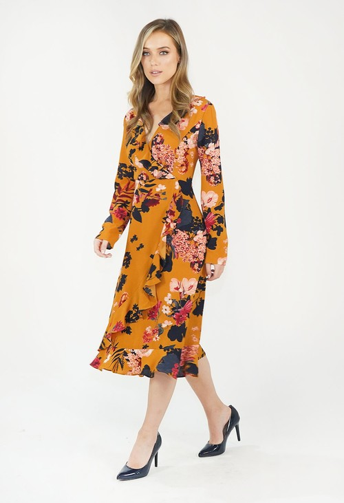 Pamela Scott Mustard Floral Pattern Print Dress