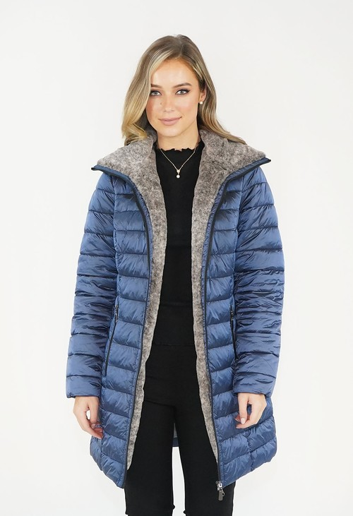 Twist Blue Metallic Faux  Fur Trim Winter Coat