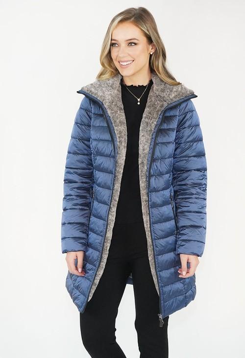 Twist Blue Metallic Faux  Fur Trim Winter Coat