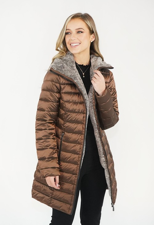 Twist Bronze Metallic Faux Fur Trim Winter Coat