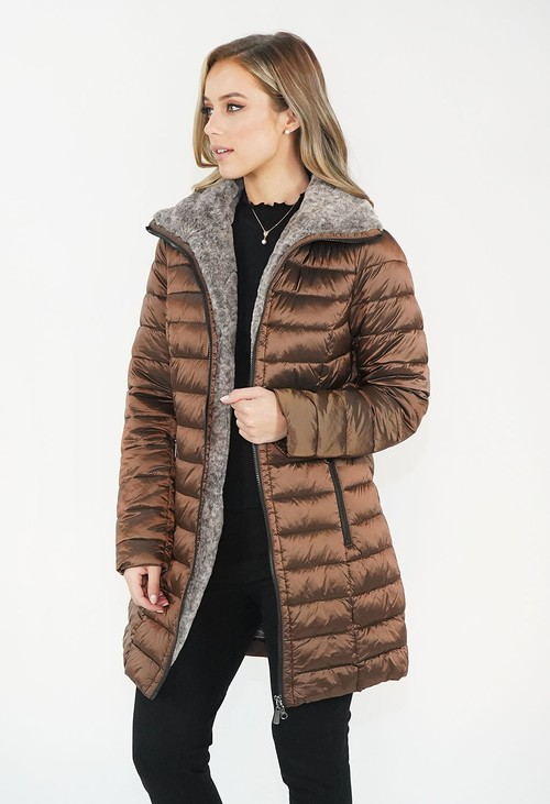 Twist Bronze Metallic Faux Fur Trim Winter Coat