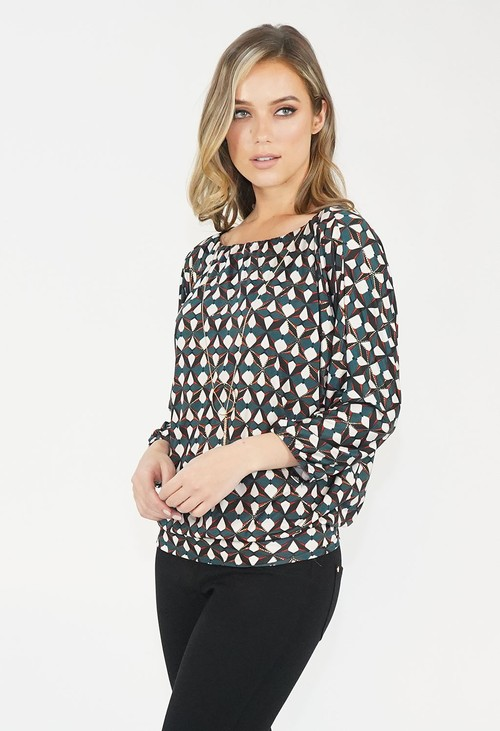 Zapara Green Over Sized Block Out Print Pattern Top