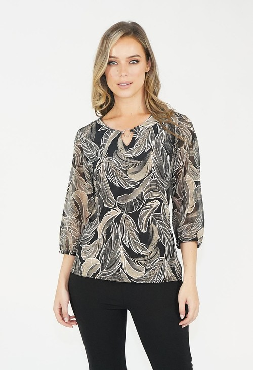 Zapara Black & Grey Leaf Pattern Blouse
