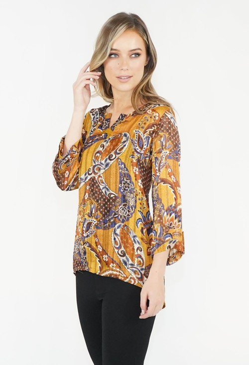 Zapara Gold Cashmere Leaf Pattern Top