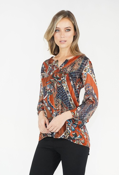 Zapara Rust & Navy Cashmere Touch Top