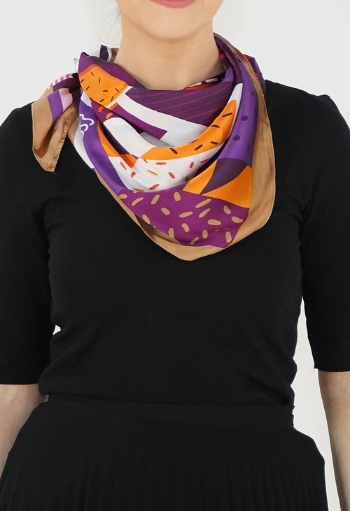 Pamela Scott Orange/Tan Letter Print Scarf