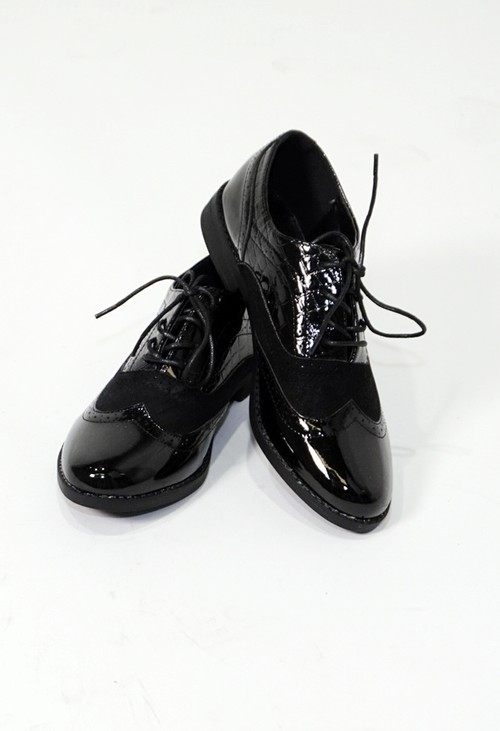 Pamela Scott Black Patent Lace Semi-Brogue