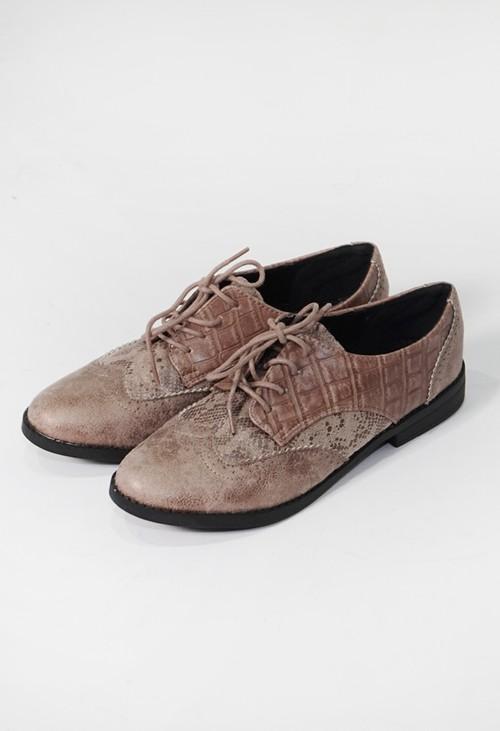 Pamela Scott Beige Snake Print Laced Semi-Brogue