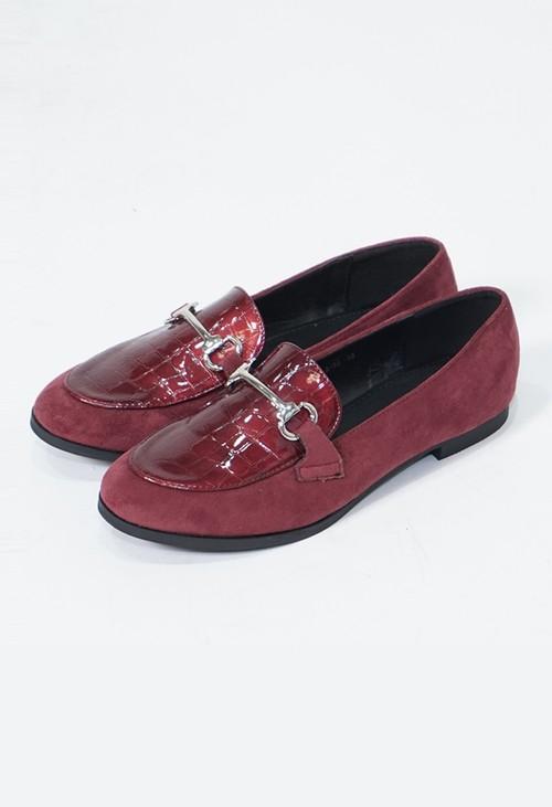 Pamela Scott Bordeaux Patent Croc Print Loafer