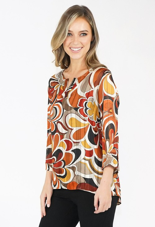 Zapara Abstract Print Top