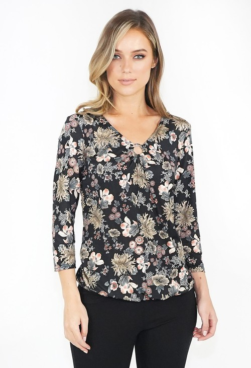 Zapara Floral Print Long Sleeve Top