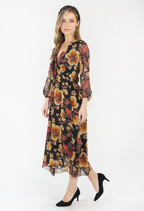 Sophie B Black Floral Wrap Dress