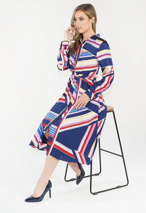 Julia Jord Multicoloured Striped Shirt Dress