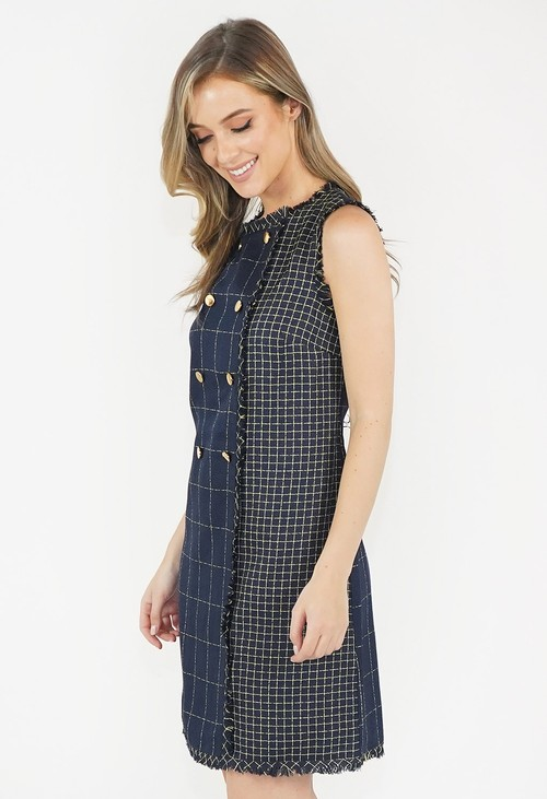 Julia Jord Navy Tweed Checked Dress