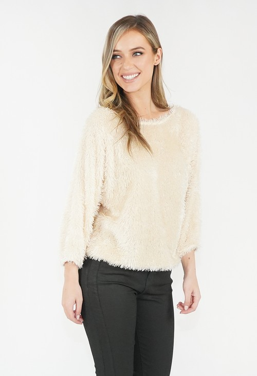 Zapara Off White Fluffy Top