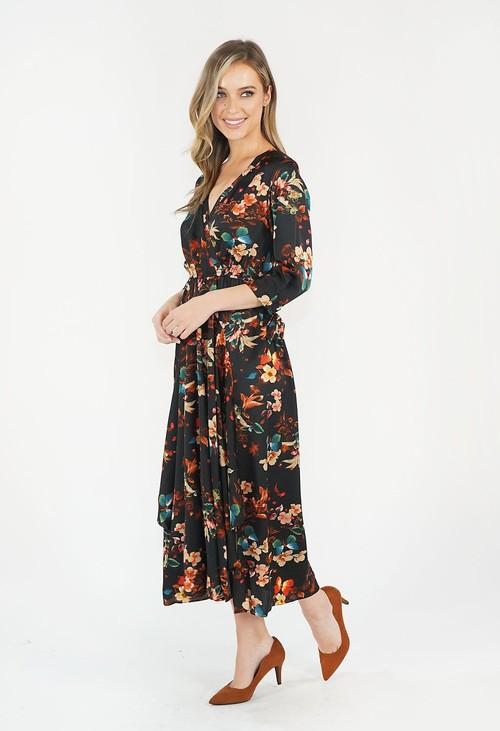 Pamela Scott BLACK & RED FLORAL PRINT DRESS